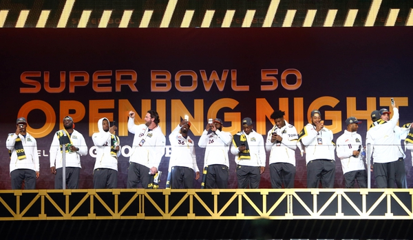Denver Broncos players are introduced at the start of Super Bowl 50 Opening Night media day at SAP Center.
