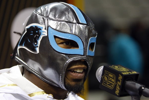 Carolina Panthers cornerback Josh Norman is interviewed during Super Bowl 50 Opening Night media day at SAP Center.
