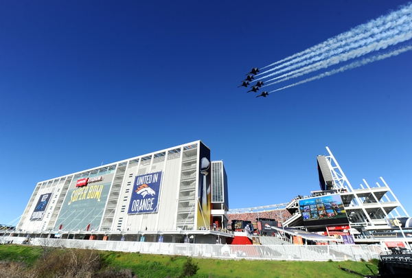 A general view of the Blue Angels flying over at Levi's Stadium prior to the start of Super Bowl 50.