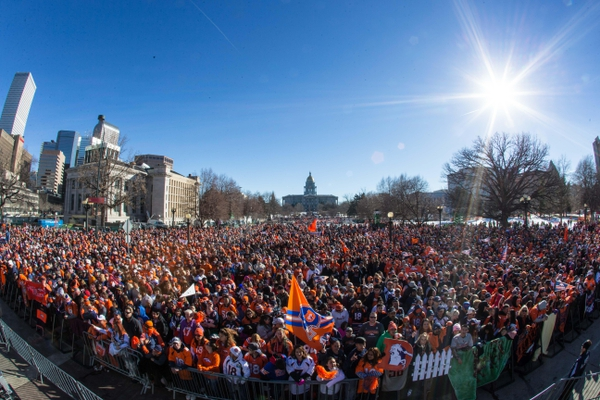Denver Broncos fans gather in Civic Center Park prior to the Super Bowl 50 championship parade.