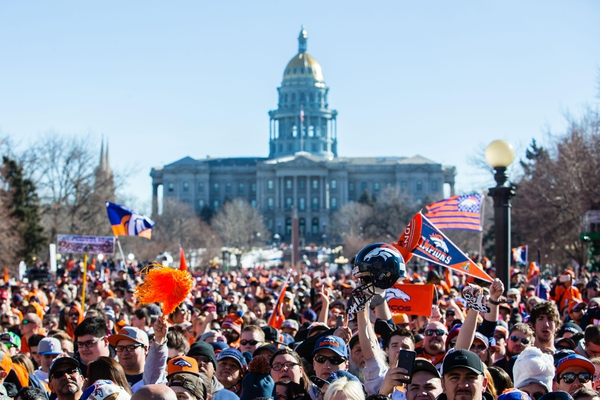 A general view of Civic Center Park as Denver Broncos fans gather prior to the Super Bowl 50 championship parade.