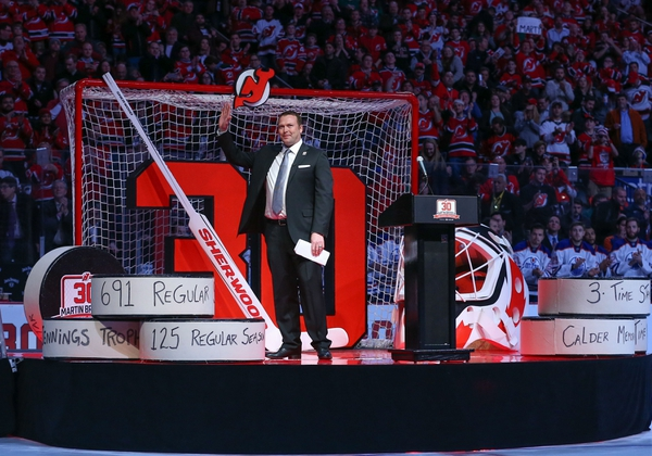 Former New Jersey Devils goaltender Martin Brodeur addresses the crowd at his number retirement ceremony before the start of the NHL game between the New Jersey Devils and the Edmonton Oilers at Prudential Center.