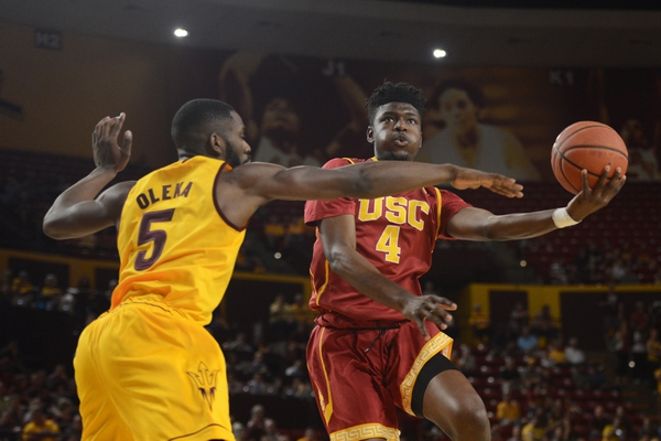 Southern California Trojans forward Chimezie Metu (4) goes up for a layup over Arizona State Sun Devils forward Obinna Oleka (5) during the first half at Wells-Fargo Arena.