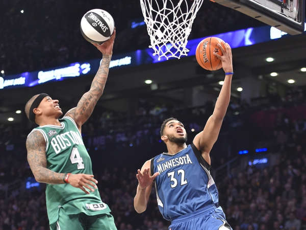 Boston Celtics guard Isaiah Thomas and Minnesota Timberwolves center Karl-Anthony Towns shoot as they compete in the skills challenge during the NBA All Star Saturday Night at Air Canada Centre.