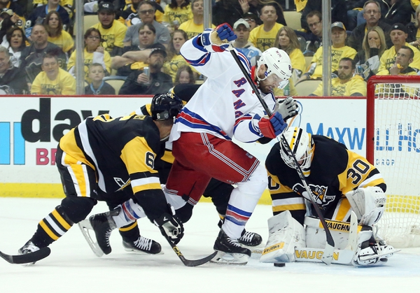 Pittsburgh Penguins goalie Matt Murray (30) makes a save against New York Rangers left wing Rick Nash (61) as Pens defenseman Trevor Daley (6) defends during the second period in game five of the first round of the 2016 Stanley Cup Playoffs at the CONSOL Energ ...