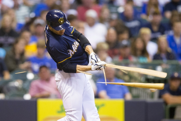 Milwaukee Brewers left fielder Ryan Braun (8) breaks his bat during the fifth inning against the Los Angeles Dodgers at Miller Park.