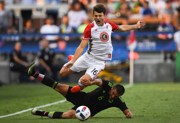 Homegrown Team midfielder Coy Craft tries to jump over Mexico U-20s midfielder Andres Iniestra Vazquez during the Chipotle MLS Homegrown Game at Avaya Stadium.