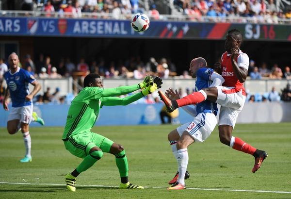 MLS All-Star Team midfielder Jermaine Jones (13) and goalkeeper Andre Blake (1) battle with Arsenal forward Joel Campbell (28) for the ball during the first half of the 2016 MLS All-Star Game at Avaya Stadium.