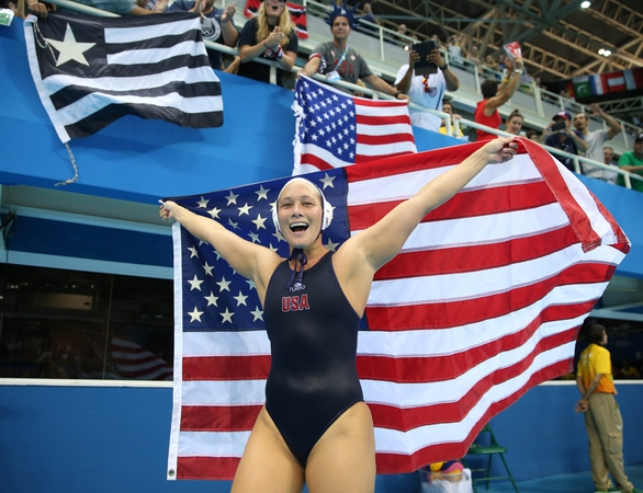 United States driver Courtney Mathewson (7) reacts after defeating Italy 12-5 int he women's gold medal water polo match at Olympic Aquatics Stadium during the Rio 2016 Summer Olympic Games.