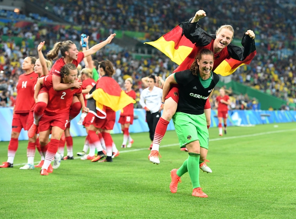 Team Germany celebrates beating Sweden in the women's soccer gold medal match at Maracana during the Rio 2016 Summer Olympic Games.