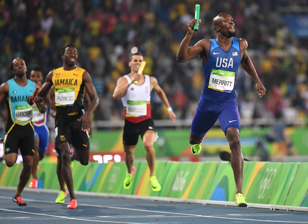 Lashawn Merritt (USA) runs in the men's 4x400m relay final during the Rio 2016 Summer Olympic Games at Estadio Olimpico Joao Havelange.