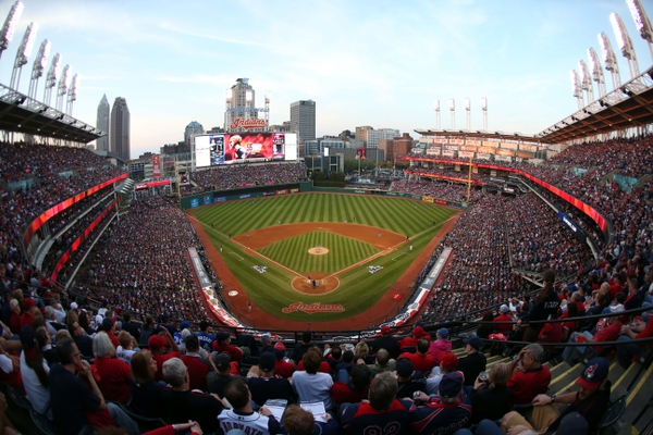 General view of Progressive Field during the eighth inning of game two of the 2016 ALCS playoff baseball series between the Cleveland Indians and the Toronto Blue Jays.