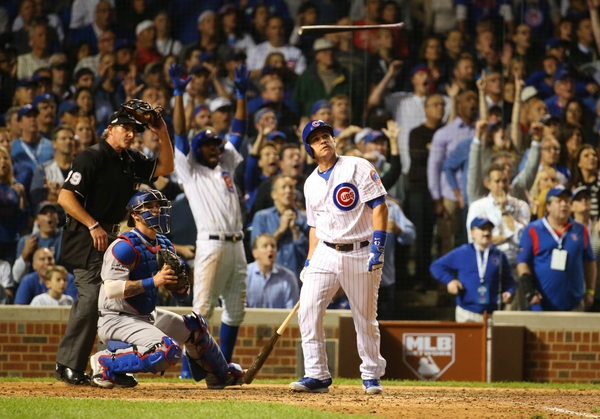 Chicago Cubs pinch hitter Miguel Montero hits a grand slam against the Los Angeles Dodgers during the eighth inning in game one of the 2016 NLCS playoff baseball series at Wrigley Field.