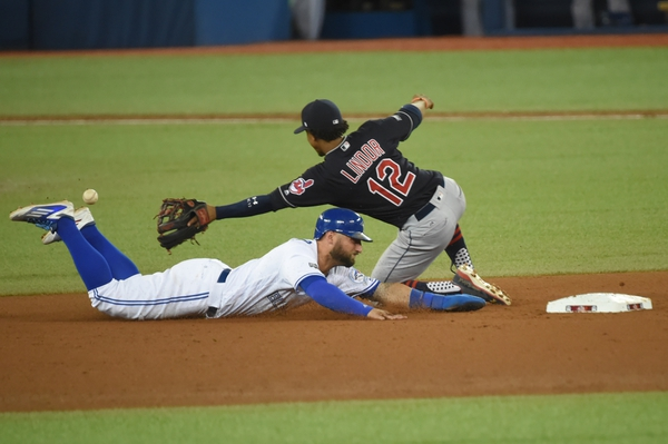 Toronto Blue Jays center fielder Kevin Pillar (bottom) steals second base against Cleveland Indians shortstop Francisco Lindor (12) during the seventh inning in game three of the 2016 ALCS playoff baseball series at Rogers Centre.