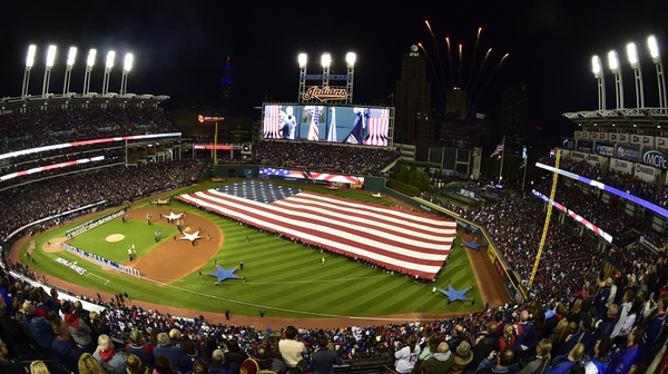 General view during the playing of the national anthem before game one of the 2016 World Series between the Chicago Cubs and the Cleveland Indians at Progressive Field.